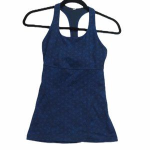 Lululemon Blue Print Scoop Neck Racer Tank Top